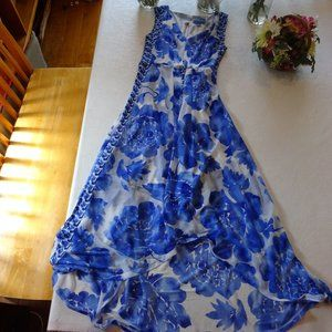 Simply Vera Vera Wang Blue & White High Low Dress